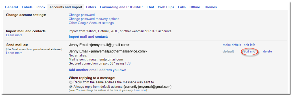 Gmail Settings accounts
