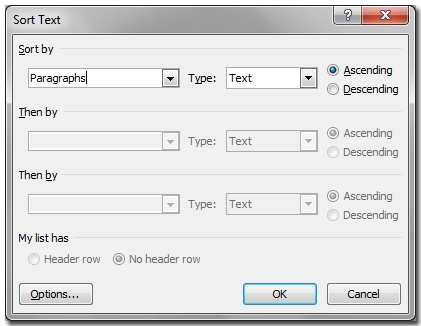sort text window