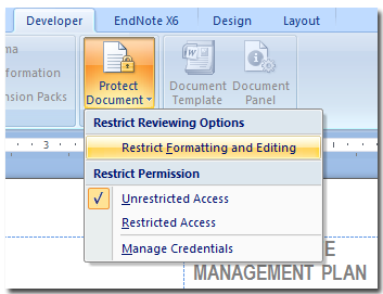 disable protection on word document